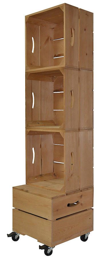 Apple crate square shelving three high apple crates for Apple crate furniture
