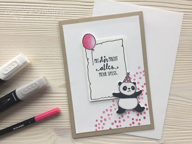 #papierformart: 150! Team Sketch-Challenge! Grußkarte mit den Party Pandas von Stampin' Up!