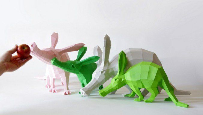 Geometric Paper Animal Sculptures by Paperwolf