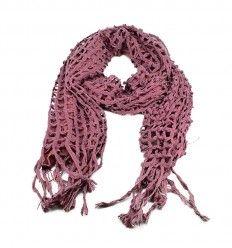 Flot tørklæde i en fin Burnt romance farve - i varmt strik og stof - 503650
