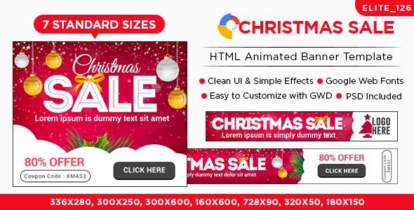 Christmas Sale HTML5 Banners - 7 Sizes