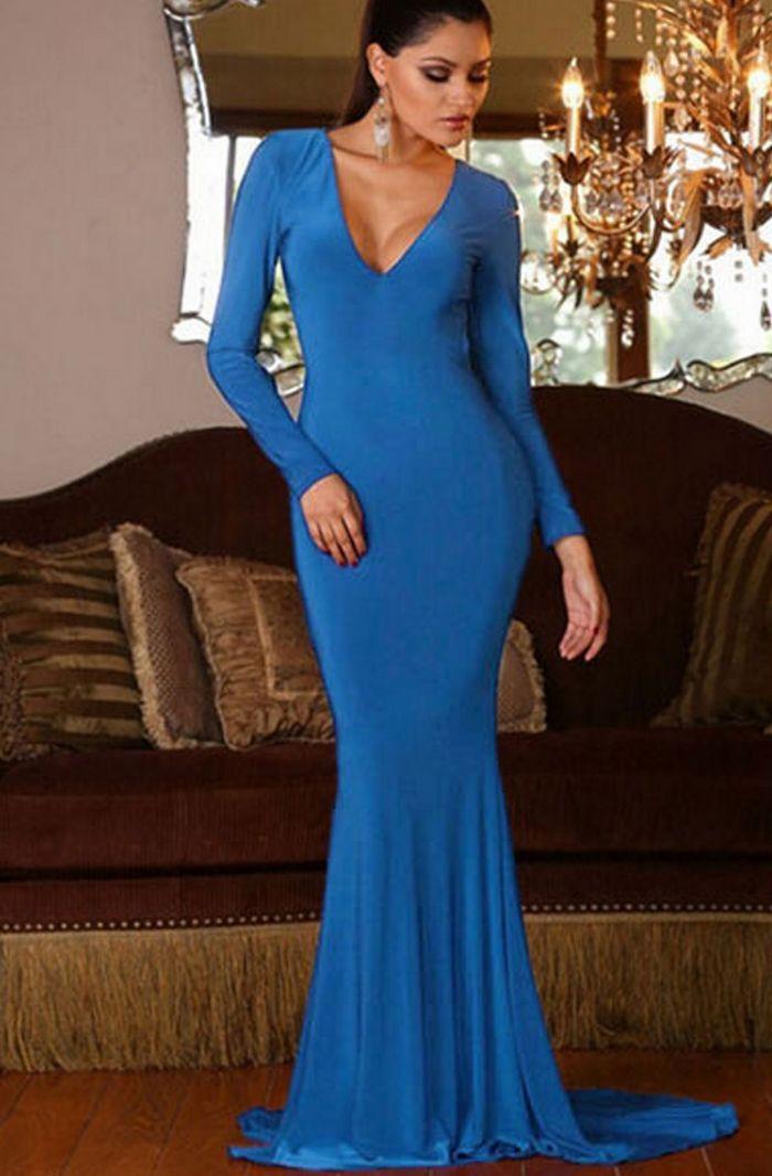 Backless Mermaid Dress in Blue