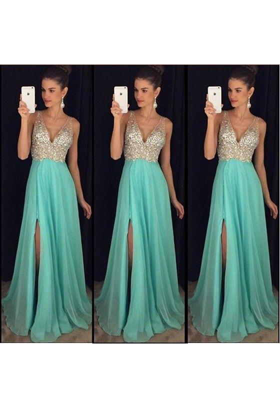 af8760242d0f Maxi dress paillettes A pieghe con spacco laterale festa di banchetto damigella  d onore azzurro