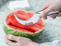 This watermelon slicer, discovered by The Grommet, makes it easy to slice, lift, and serve watermelon in one easy motion—with less mess.