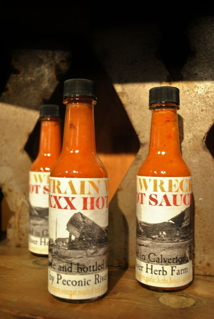 Train Wreck XXX Hot Sauce   Find it in OUTSIDE IN AT Peconic River Herb Farm!