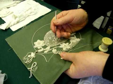 An Irish Crochet Lace Demonstration Nora Finnegan at the Kenmare Lace & Design Centre. This is a video of Nora Finnegan making what is a much finer version o...