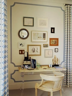 Love the wall trim its amazing along with the polka dot curtains