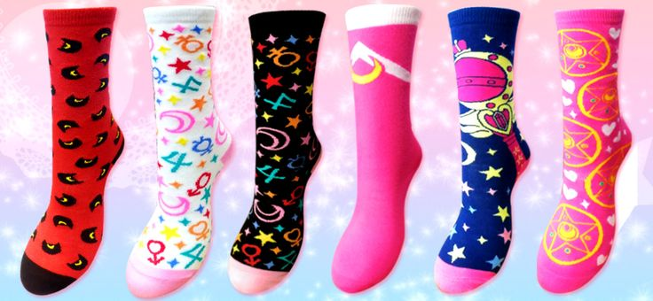 Official Japanese Sailor Moon Socks! Buy here http://www.moonkitty.net/buy-sailor-moon-socks.php