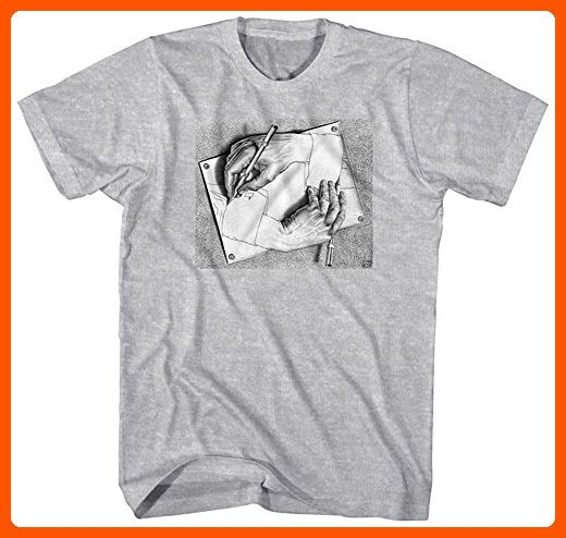 M.C. Escher Men's M.C. Escher Drawing Hands Graphic T-Shirt, Sports Grey, Large - Cool and funny shirts (*Amazon Partner-Link)
