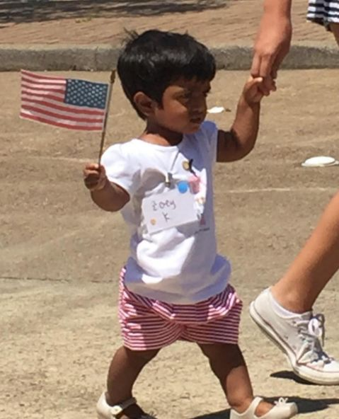 Little Couple: Zoey in the summer camp 4th of July parade!  2016
