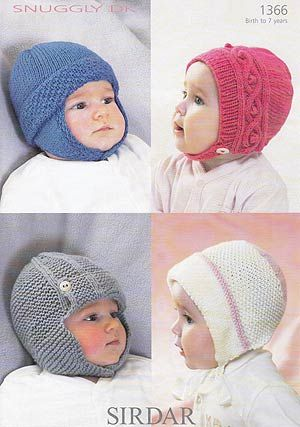 Cute and cosy Knit Hats pattern to fit ages 0-7 years