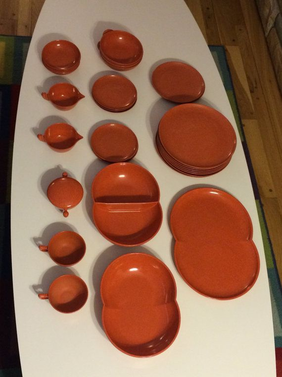 Sold****Colorflyte //  Melmac 30 piece Dinnerware // Glow Copper // Atomic Ranch //