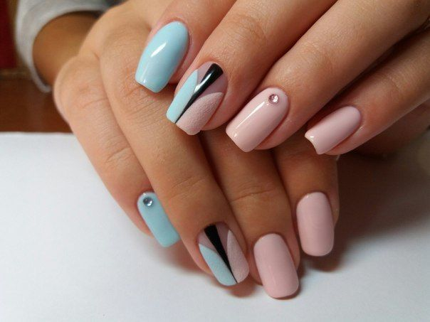 Elegant nails, Manicure by summer dress, New ideas of nails, Original nails, Pink and blue gel polish, Pink and blue nails, Prom nails ideas, ring finger nails