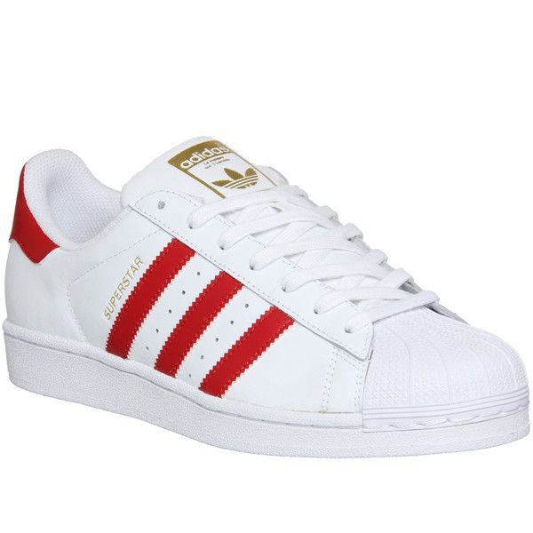 Adidas Superstar 1 ($100) ❤ liked on Polyvore featuring men's fashion, men's shoes, men's sneakers, his trainers, shoes, trainers and white scarlet