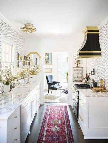 Small Galley Kitchen Ideas Kitchen With Gold Accents