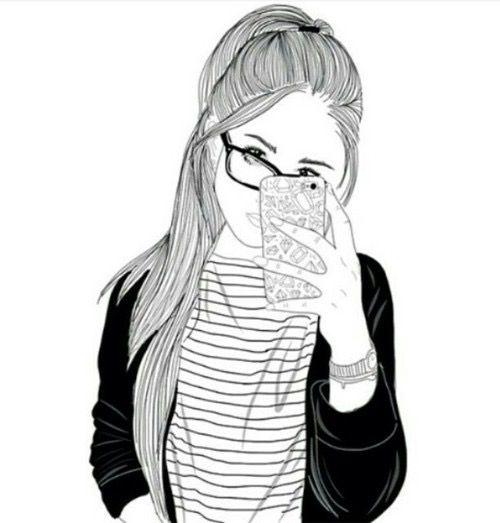 girl, hair, outline, outlines, tumblr