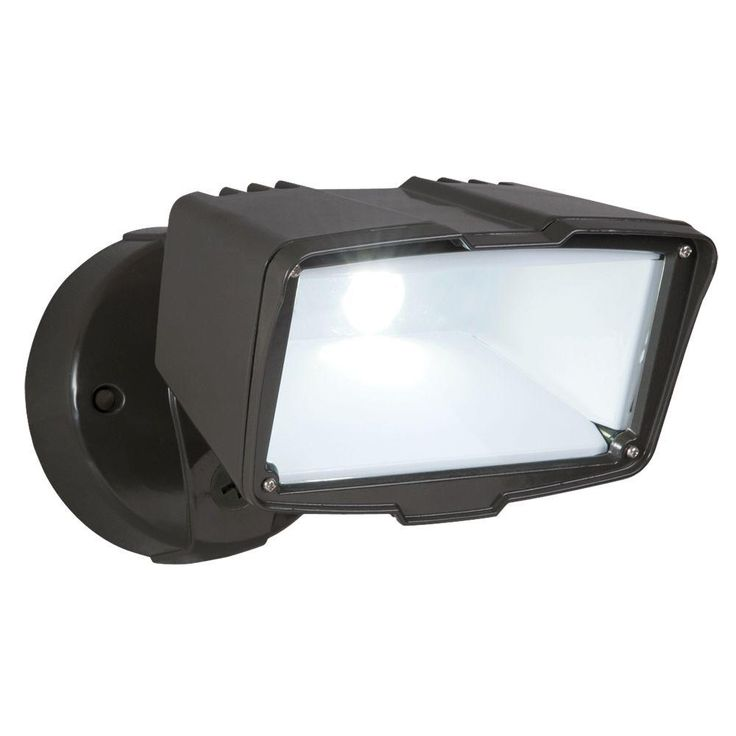 All Pro 27.6 Watt Bronze Outdoor Integrated LED Large Single Head Security Flood  Light