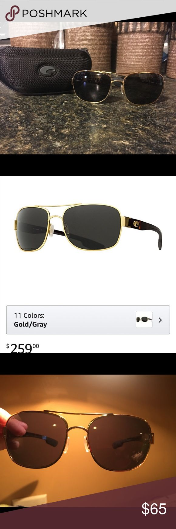 Costa Del Mar Coco Sunglasses Gold and Tortoise Beautiful and stylish sunglasses. Very much so authentic! I purchased myself. Included is a picture of the New on Amazon. Polarized. They do have some surface scratches from my previous use. I tried to take the best pictures so that you can tell exactly where scratches are ( actually harder than you would think). Lots and lots of wear left! Great glasses for everyday, Lake, or ocean wear. Gold with tortoise. Nose pieces are still in great…