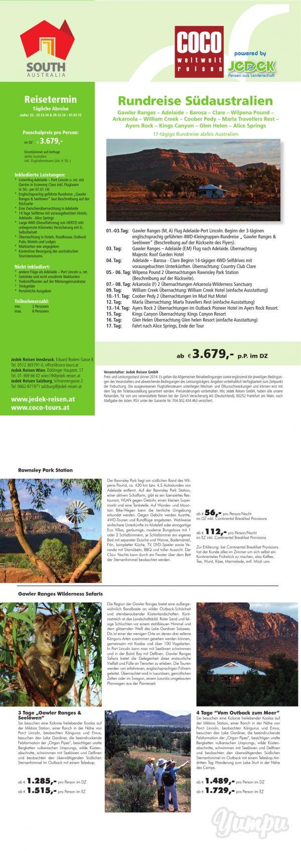 Rundreise Südaustralien  - Magazine with 2 pages: 17-tägige Rundreise ab/bis Australien im Doppelzimmer im DZ € 3.679,- mit den Highlights: Gawler Ranges – Adelaide – Barossa – Clare – Wilpena Pound – Arkaroola – William Creek – Coober Pedy – Marla Travellers Rest – Ayers Rock – Kings Canyon – Glen Helen – Alice Springs
