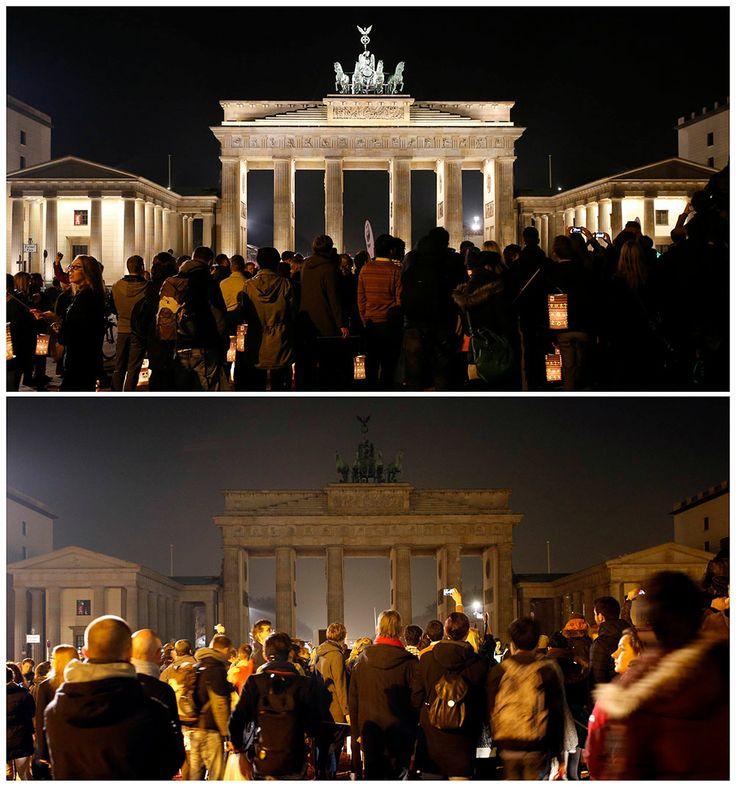 La Puerta de Brandemburgo, en Berlín, Alemania. Apagón mundial en la Hora del Planeta.