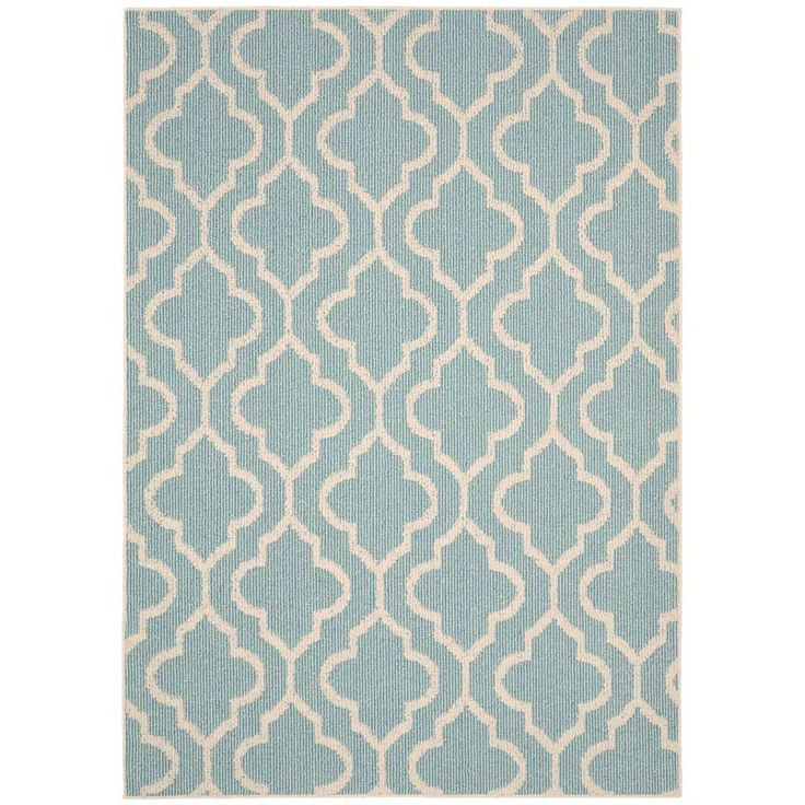 Double Quatrefoil Teal 5x7 Indoor/Outdoor Rug