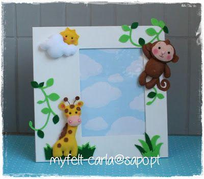 Moldura decorada com animais da selva em feltro!