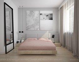 MIESZKANIE Z AKCENTAMI PUDROWEGO RÓŻU - Sypialnia, styl nowoczesny - zdjęcie od TK Architekci