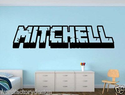 Gamer My Name decal Minecraft inspired name 3d looking