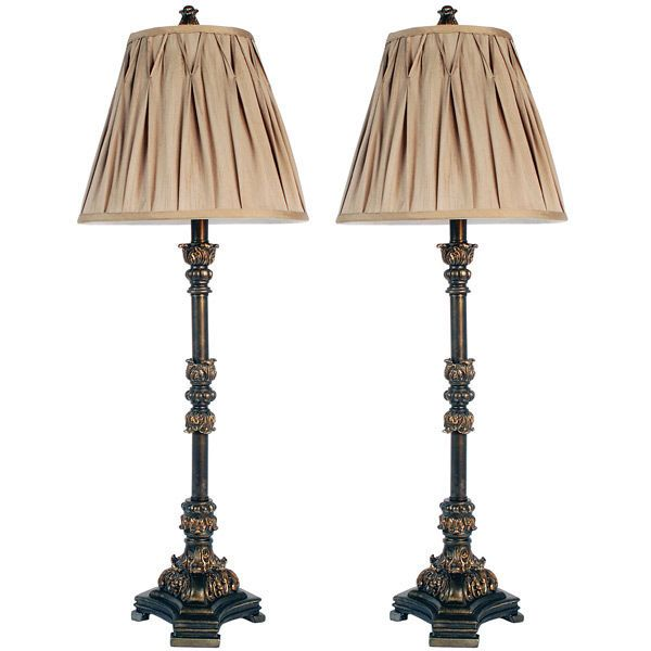 Awesome Vintage Style Pleated Shades Tall Buffet Lamp,Set of Two,36''H. #Handmade #Mediterranean