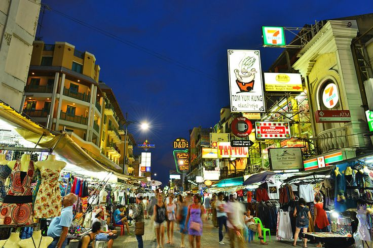 Khao San Road takes off at night: neon signs flicker into life, music begins blasting from streetside sound systems, while the masses begin mapping out the long, alcohol-soaked night in front of them. And there's no shortage of choices. From the (relatively) upscale Silk Bar and