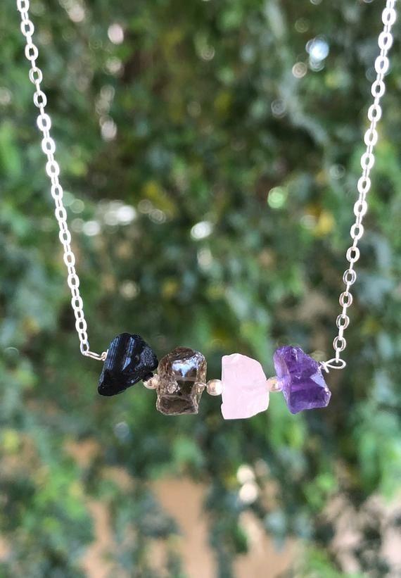 Pendant Necklace Positive Energy Crystal necklace Hematite Smoky Quartz Amethyst Chakra Gemstone