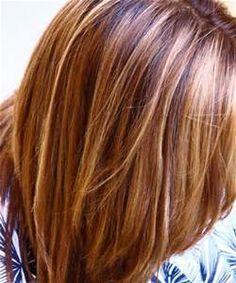 Chestnut with caramel blonde highlights---