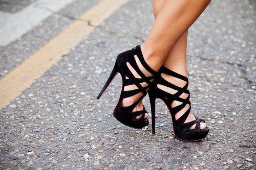 Caged stilettos.: Black Shoes, Styles, Fashion Accessories, Black Heels, Sandals, Prom Heels, Black High Heels, Straps Heels, Shoes Shoes