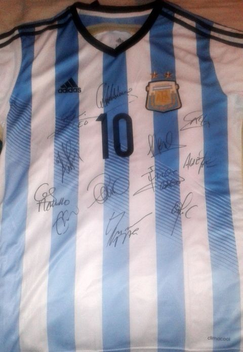 2014 Argentina Team Autographed World Cup Home Jersey