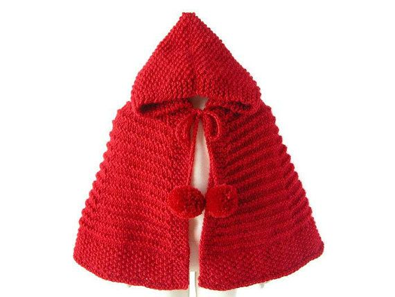 Red Riding Hood Hand Knit Cape, Baby Girl Alpaca Cape, Toddler Hooded Sweater, Halloween Costume, Made To Order - adorable little red riding hood knit cape for baby and toddler girls - perfect for your photography sessions and Halloween parties, but it will also dress up any outfit year long - crafted from branded alpaca soft wool yarn - hand knitted with knitting needles - made with a thick, but delicate luxury alpaca wool - sizes for babies, toddlers - many colors - the perfect…
