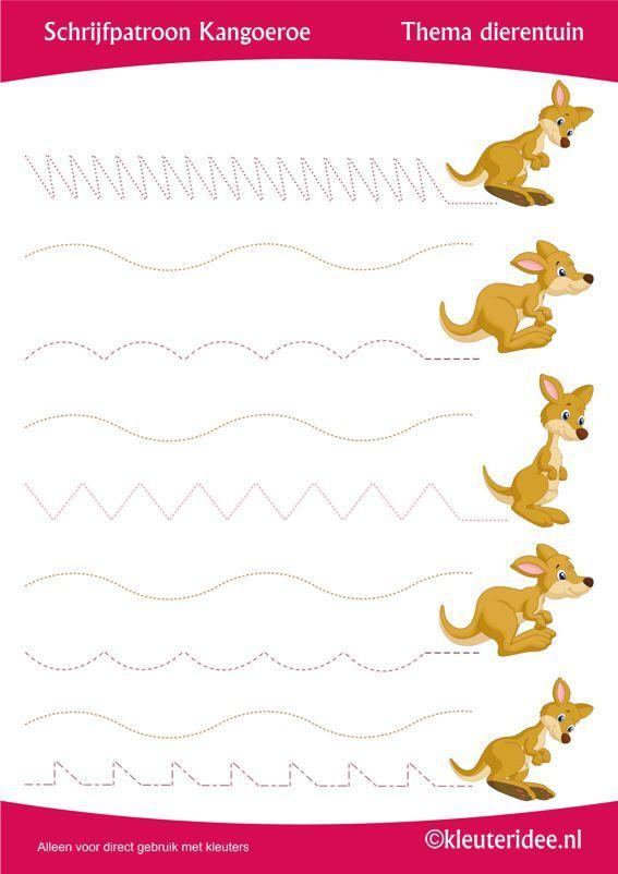 Schrijfpatroon kangoeroe, thema dierentuin, juf Petra van Kleuteridee, preschool kangaroe writing pattern, free printable.
