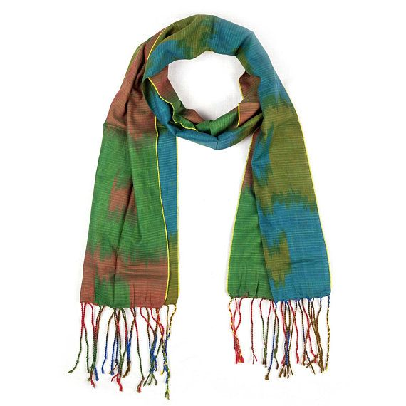 Green Blue And Red Ikat Cotton Scarf With Tassels Fair Trade