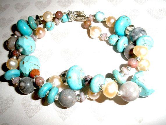 CHUNKY Two Strand PEARL GEMSTONE Bracelet Multi Strand Pearl