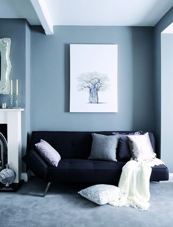 Lounge Blue Walls And Sofa Rooms Decorating Ideas
