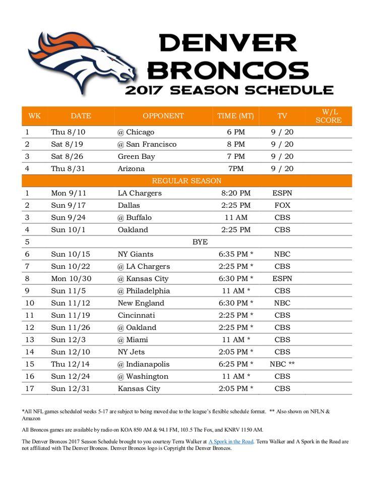 Denver Broncos 2017 Season Schedule https://www.fanprint.com/licenses/denver-broncos?ref=5750