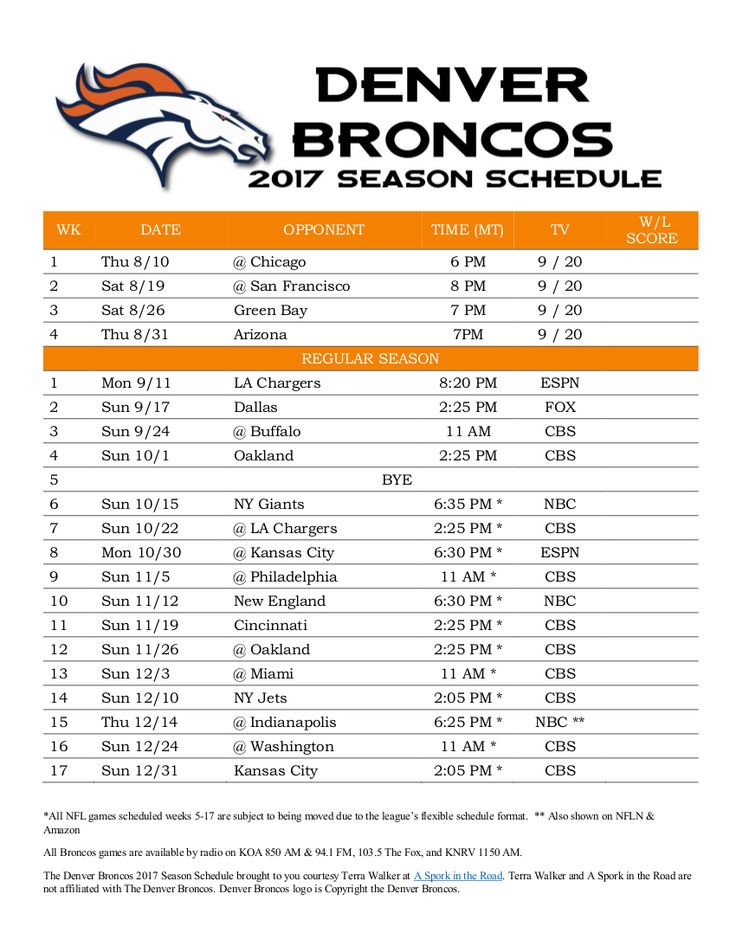 graphic relating to Denver Broncos Schedule Printable identified as St Martin Of Excursions M Timetable: Denver Bronco Routine