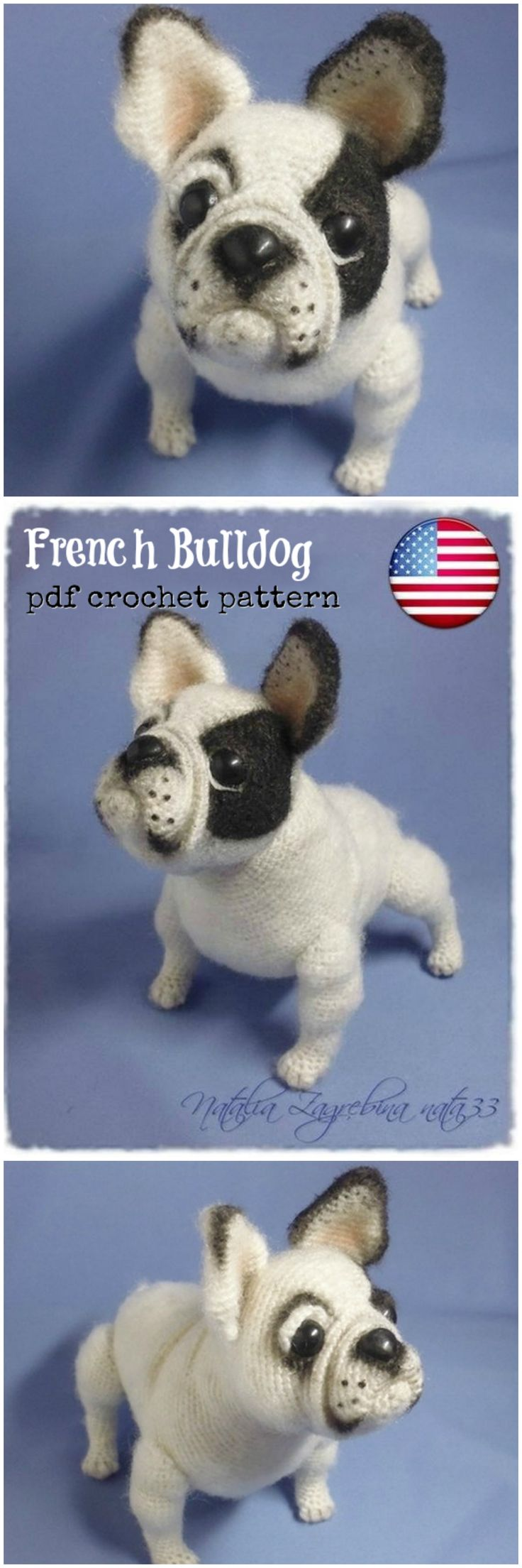 Adorable realistic French Bulldog crochet pattern! I am amazed at this pattern designer! She has multiple beautiful ultra-realistic crochet dog patterns for sale in her shop! So amazing with detailed notes on construction of this phenomenal piece of art! #etsy #ad #amigurumi