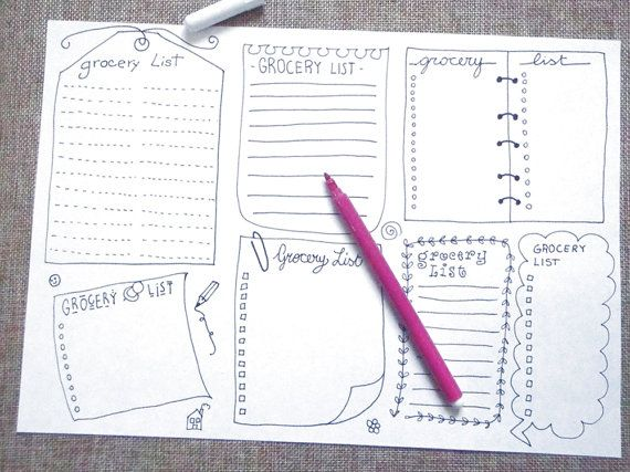 grocery lists boxes journal printable planner agenda layout