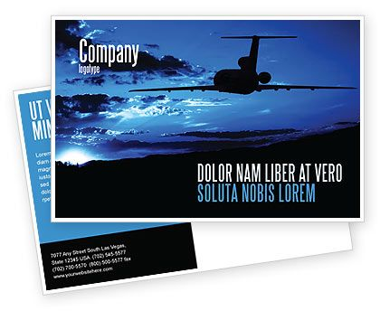 Stunning Postcard template with bright blue background showing front of the airplane will fit presentations on airline industry, air travel, air communication, air transport services, etc http://www.poweredtemplate.com/brochure-templates/cars-transportation/postcards/05206/0/index.html