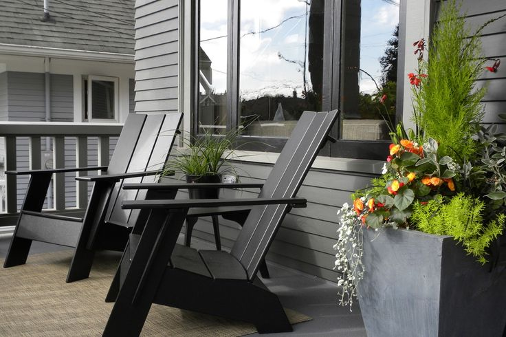 Pretty plastic adirondack chairs in Porch Craftsman with Craftsman Porch Railing Designs next to Porch Swing alongside Front Porch Planter and Porch Swing Bed