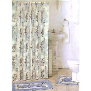 Blue Floral Fabric Shower Curtain Fabric Covered Rings Area Rug