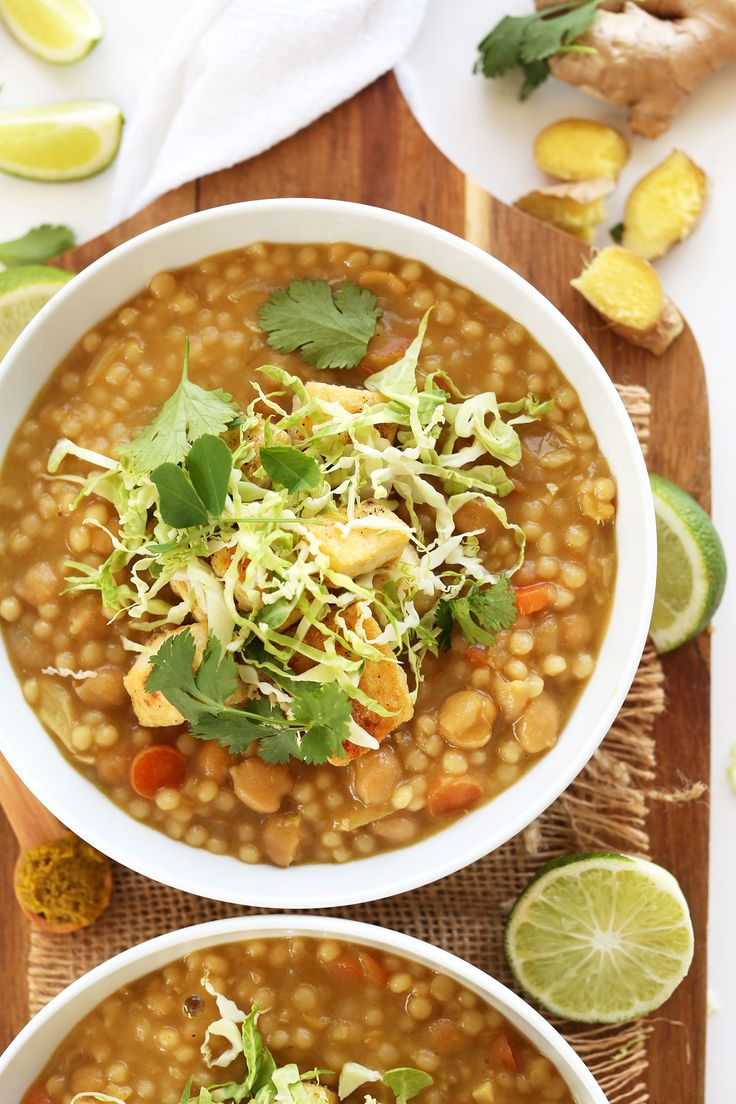 30 Minute Green Chickpea Curry with Israeli Couscous! So healthy, flavorful and quick! Just 30 minutes #vegan #healthy
