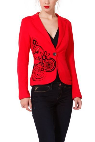 Desigual women's Soft blazer. It features a flocked print and feels like velvet. With stud and rhinestone details.