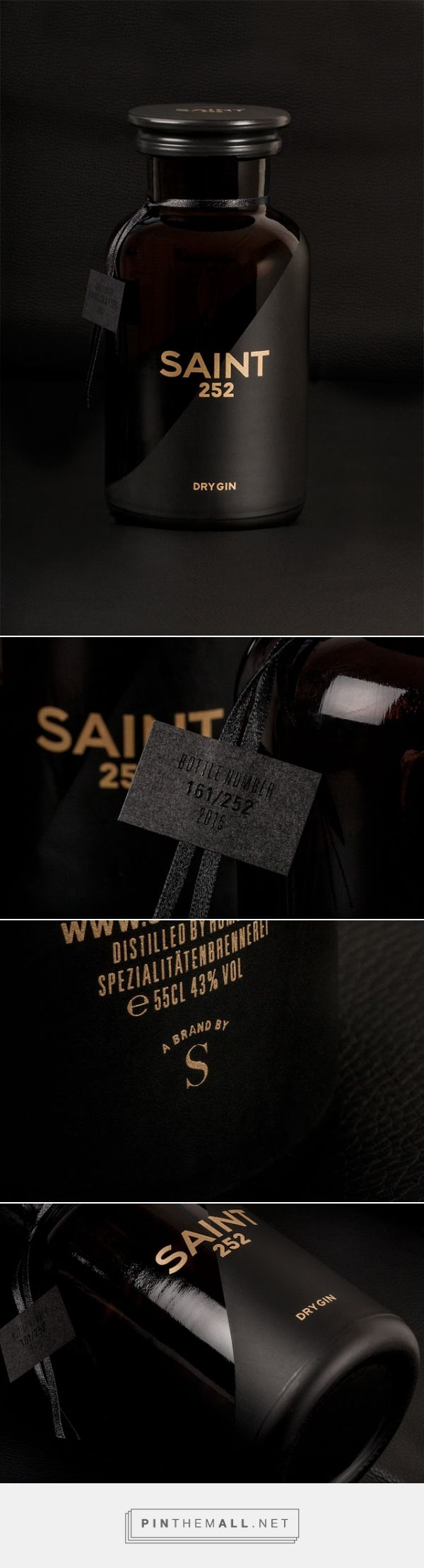 SAINT 252 ‪gin‬ ‪packaging‬ designed by Studio Schoch - http://www.packagingoftheworld.com/2015/08/saint-252.html