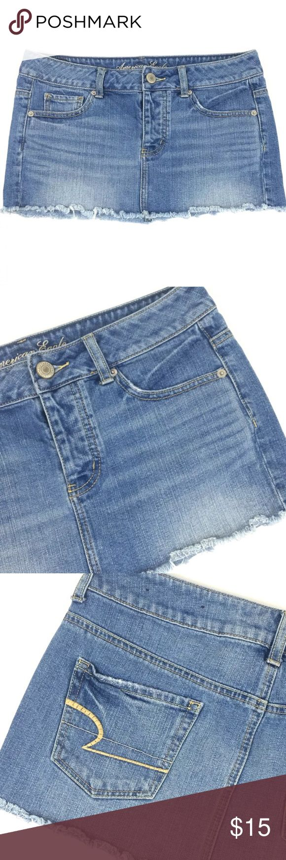 """🎉American Eagle Outfitters Cut Off Denim Skirt 4 American Eagle Outfitters Womens Cut Off Denim Skirt 4 Light Wash Distressed  💥SPECIAL OFFER💥 💰Save 20% On Bundles of 2 or More  (See Pictures for More Details)  Approximate Measurements: ▪️Length: 10.5"""" ▪️Waist: 16"""" ▪️Hips: 16"""" Tip: Please Measure Your Favorite Skirt and Compare Measurements To Ensure Proper Fit  💌Please Reach Out With Any Questions  🚫Sorry No Trades  Thank You For Checking Out My Closet🤘🏼🌵 American Eagle Outfitters…"""